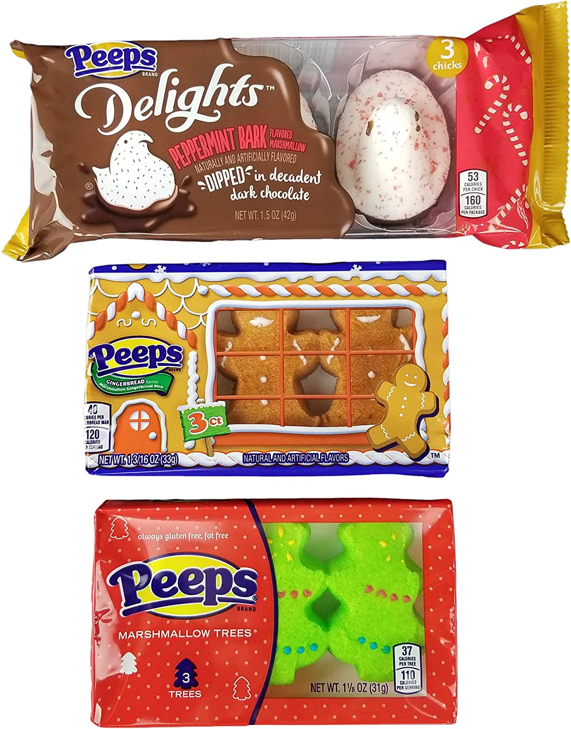 Christmas Flavors.Marshmallow Peeps Candy Chicks Christmas Variety Pack Holiday Xmas Flavors Peppermint Bark
