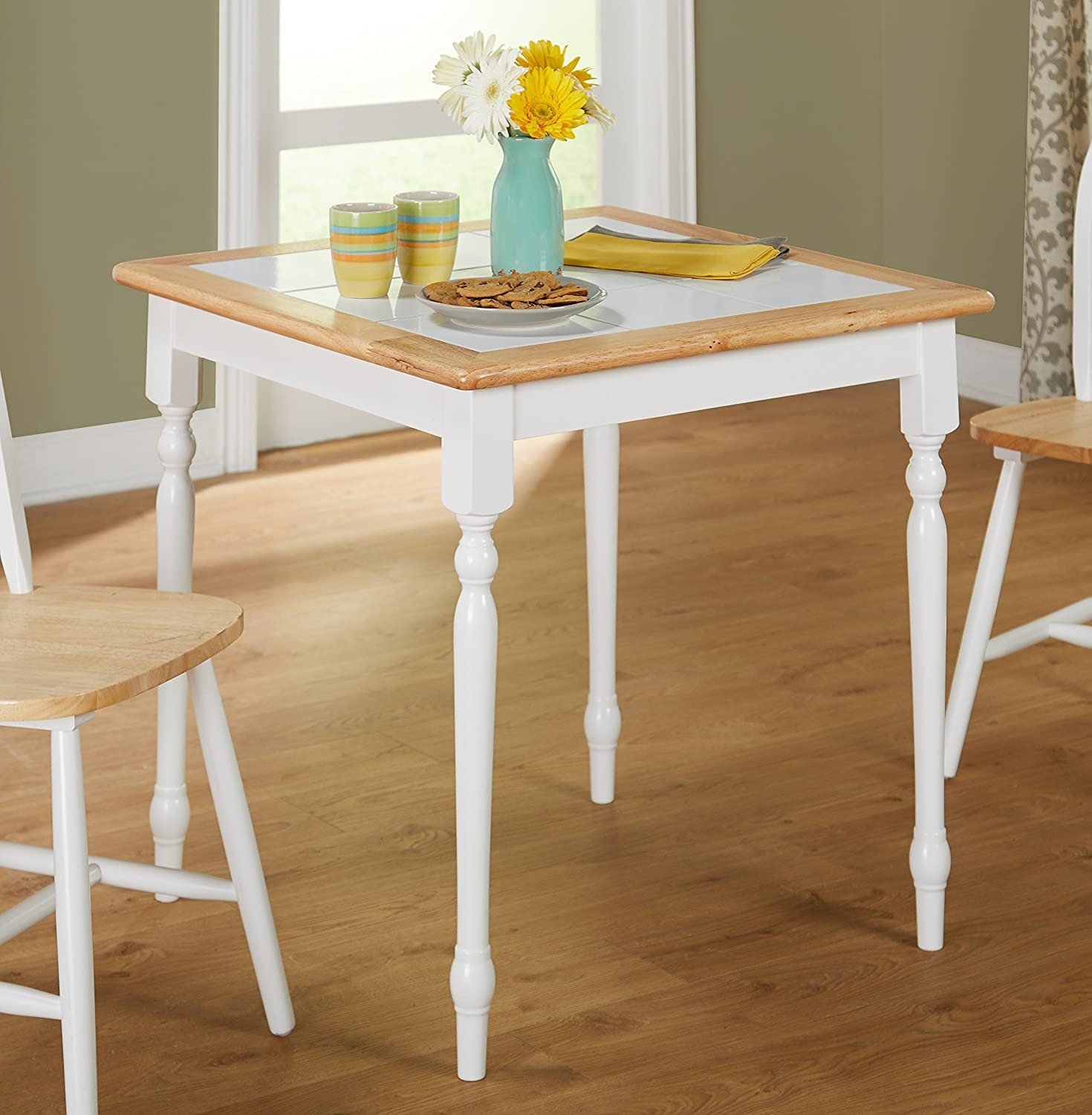 Farmhouse Design Charming Tile Top Dining Table, Reliable Furniture Piece, Comfortably Seating Four People, Constructed from Sturdy and Durable Solid Wood, White/Natural + Expert Guide