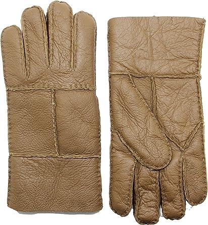 YISEVEN Men Rugged Shearling Sheepskin Gloves Flip Cuffs
