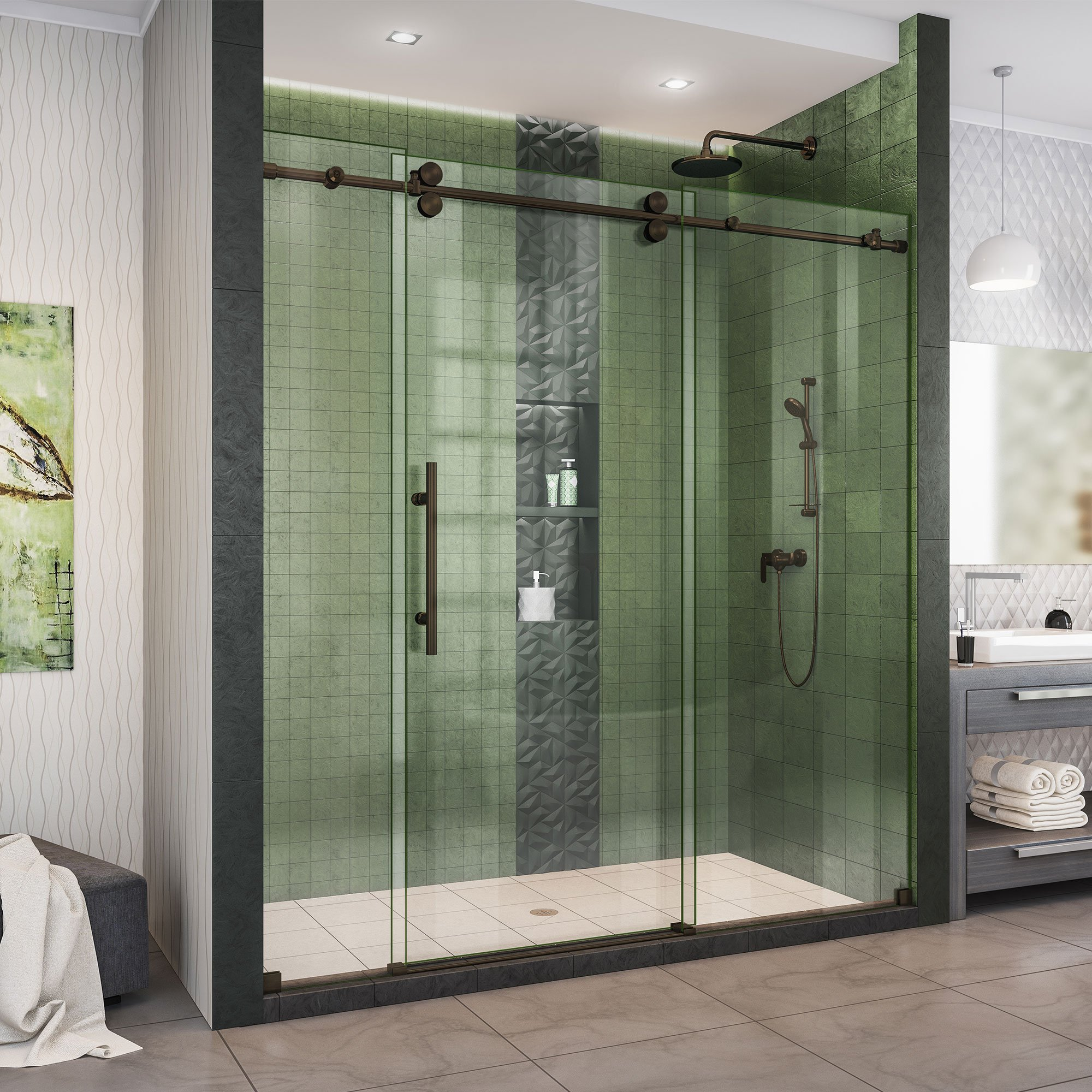 DreamLine Enigma-XO 68-72 in. W x 76 in. H Fully Frameless Sliding Shower Door in Oil Rubbed Bronze, SHDR-61727620-06
