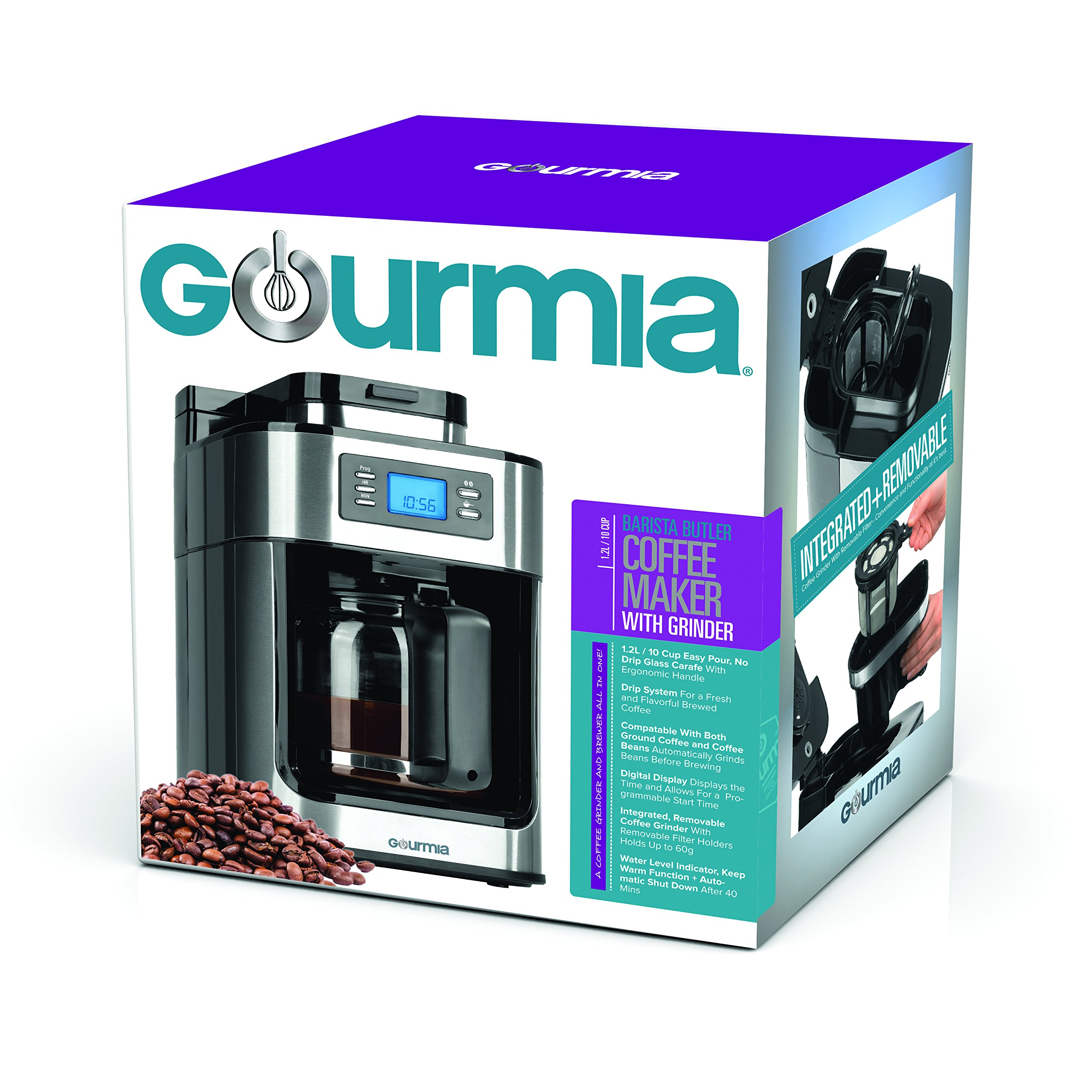 Gourmia GCM4500 Coffee Maker with Built In Coffee Grinder - Time Programmable - 10 Cup Capability - Automatic Drip - Glass Carafe - LED Display - ETL Certified by Gourmia (Image #6)