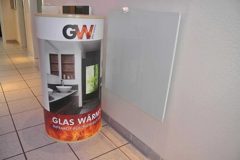 Infrarotheizung Infarot 450 Watt ESG Glas Weiss Glaswä rmt Glasheizung Glaswärmt shop.frontgas.de GW-IGP-450