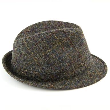 Hawkins Unisex Tweed Country Trilby Hat Rolled Brim Headwear Classic Fedora Cap