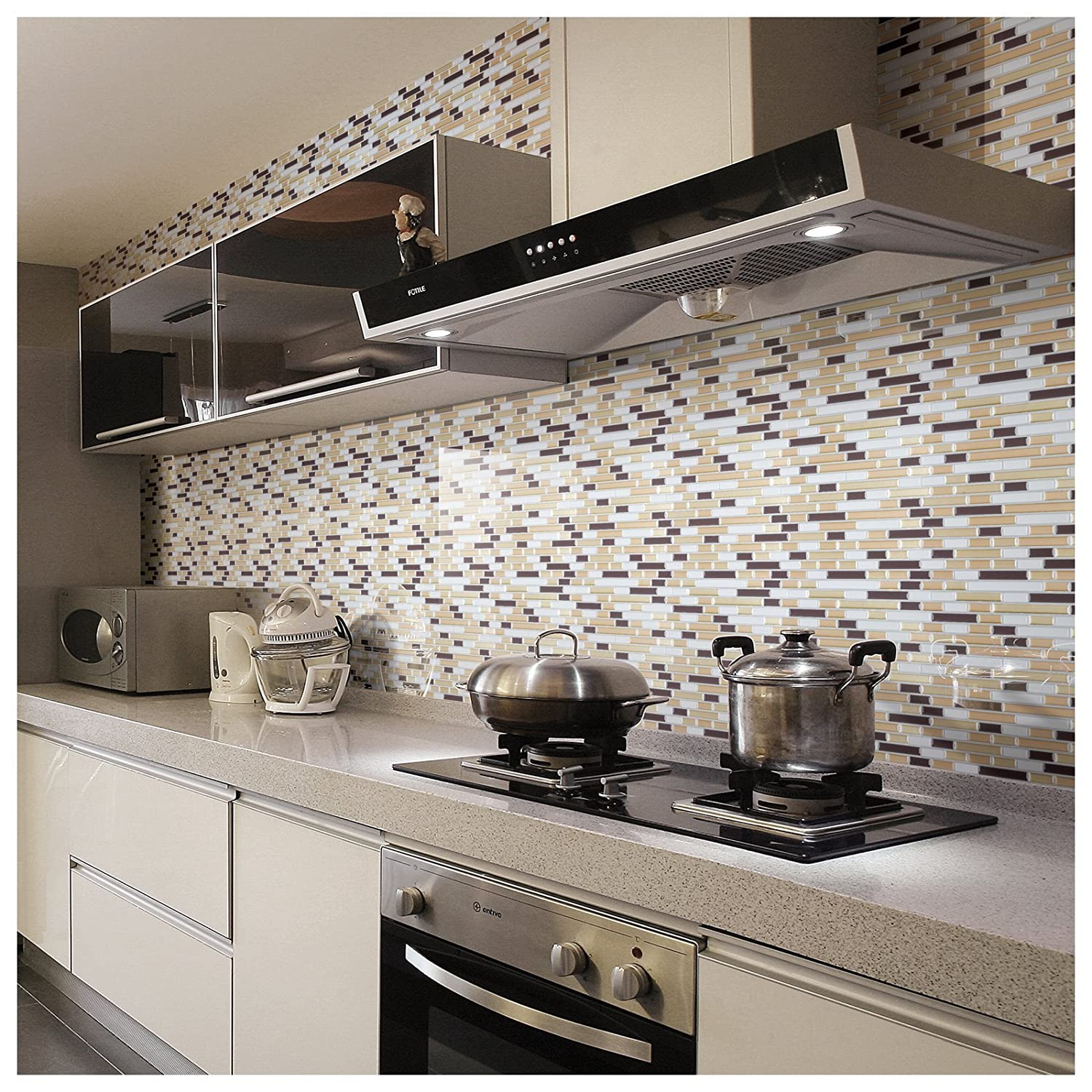 Art3d Peel N Stick Backsplash Tile Sticker Vinyl Wall Covering, 30cm X 30cm  Champagne Gold (2 Pack): Amazon.co.uk: Garden U0026 Outdoors