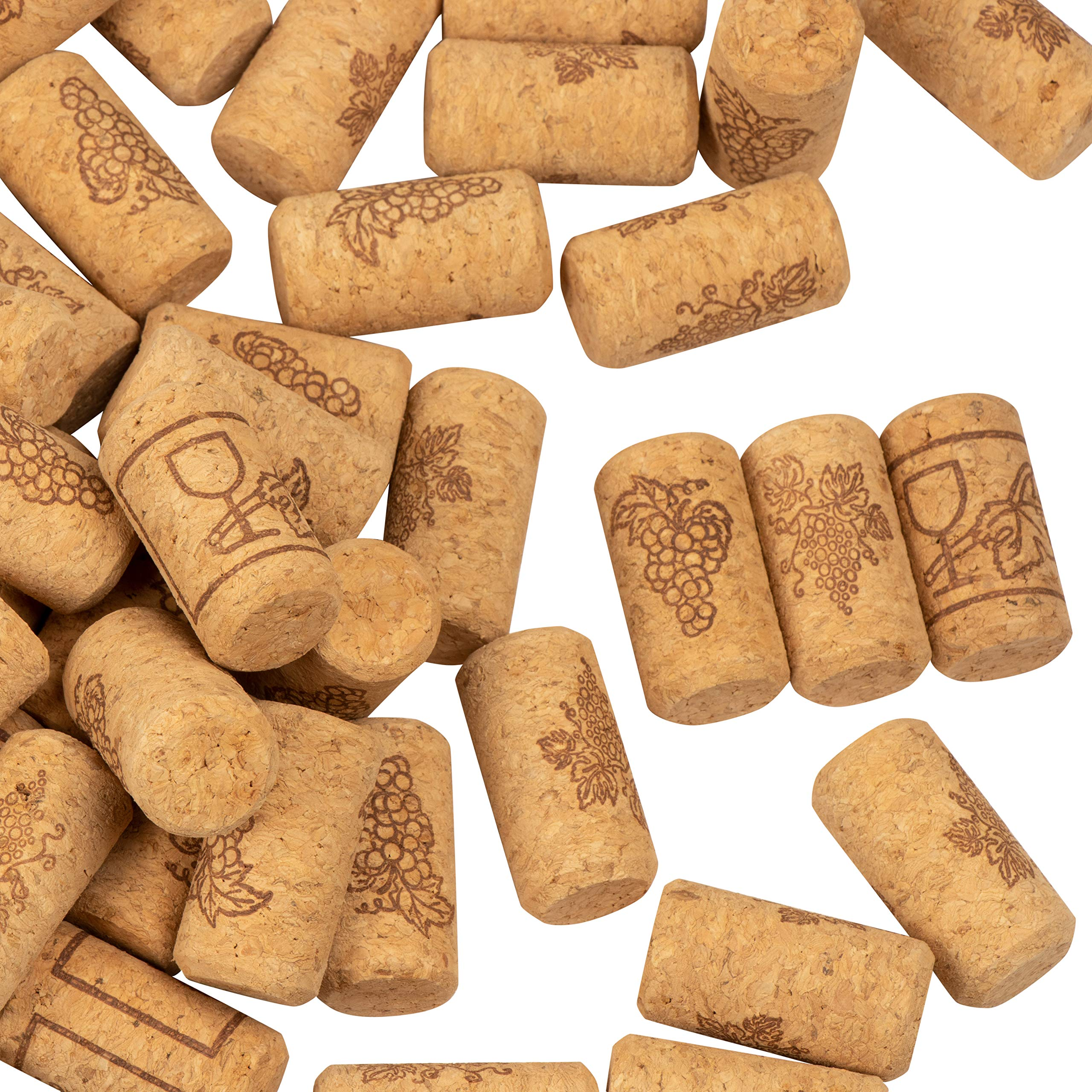 Set of 200 Wine Corks - Bottle Corks with Grape Vine Design, Non-Recycled Straight Corks, Natural Cork Stoppers, Brown - 0.93 x 1.7 Inches