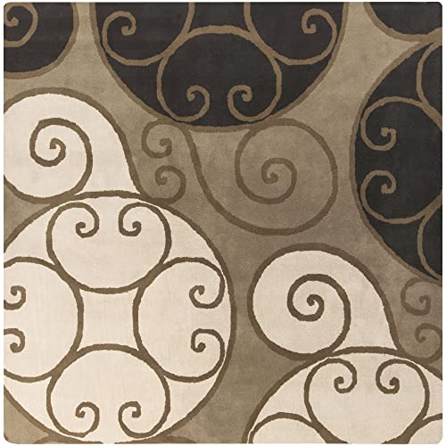 Surya Athena ATH-5111 Contemporary Hand Tufted 100 Wool Brindle 6 Square Geometric Area Rug