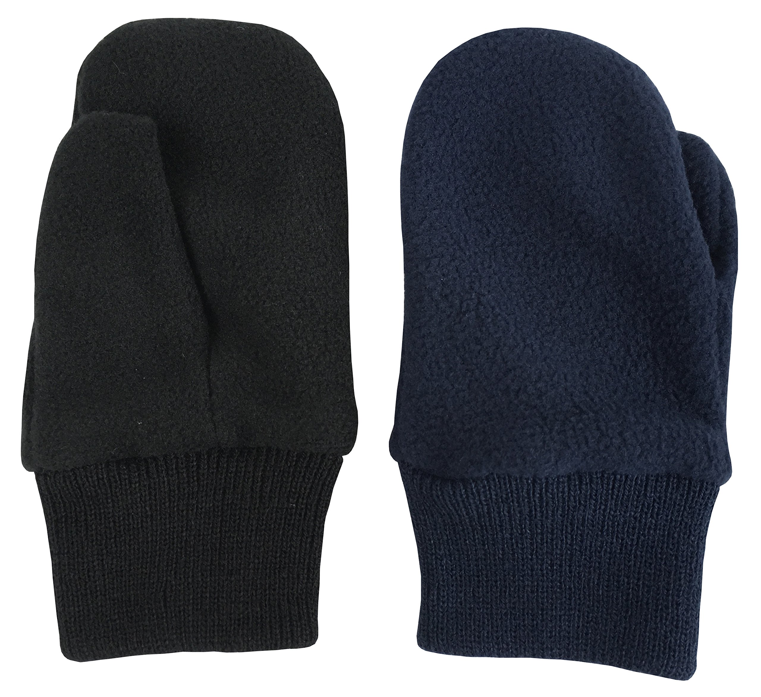 N'Ice Caps Baby Unisex and Toddler Cozy Winter Fleece Mittens - 2 Pair Pack (2-3 Years, Navy/Black Pack)