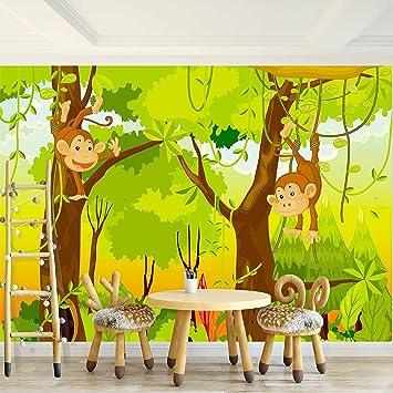 Fototapete Kinderzimmer Affen Dschnungel 396 x 280 cm Vlies Wand Tapete  Dekoration Wandbilder XXL Moderne Wanddeko - 100% MADE IN GERMANY - Grün  Wald ...