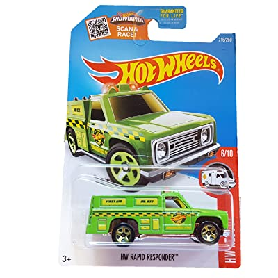 Hot Wheels, 2016 HW Rescue, HW Rapid Responder [Neon Green] 216/250: Toys & Games
