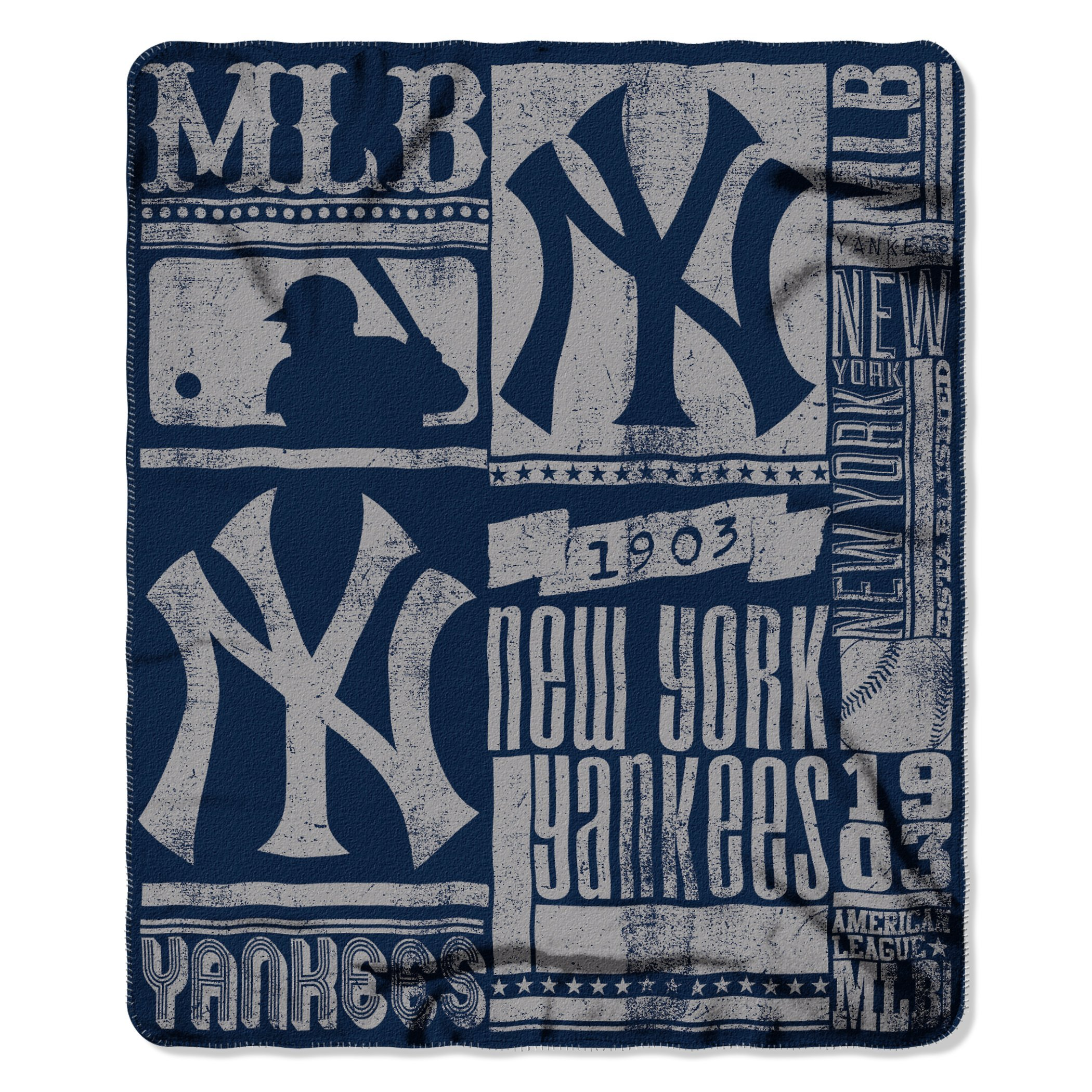 The Northwest Company MLB New York Yankees Strength Fleece Throw Blanket 50-inch by 60-inch, Blue by The Northwest Company
