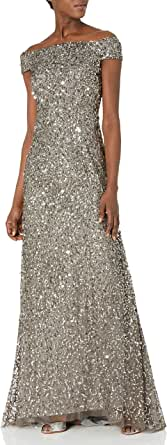 Adrianna Papell Women's Off The Shoulder Beaded Long Gown