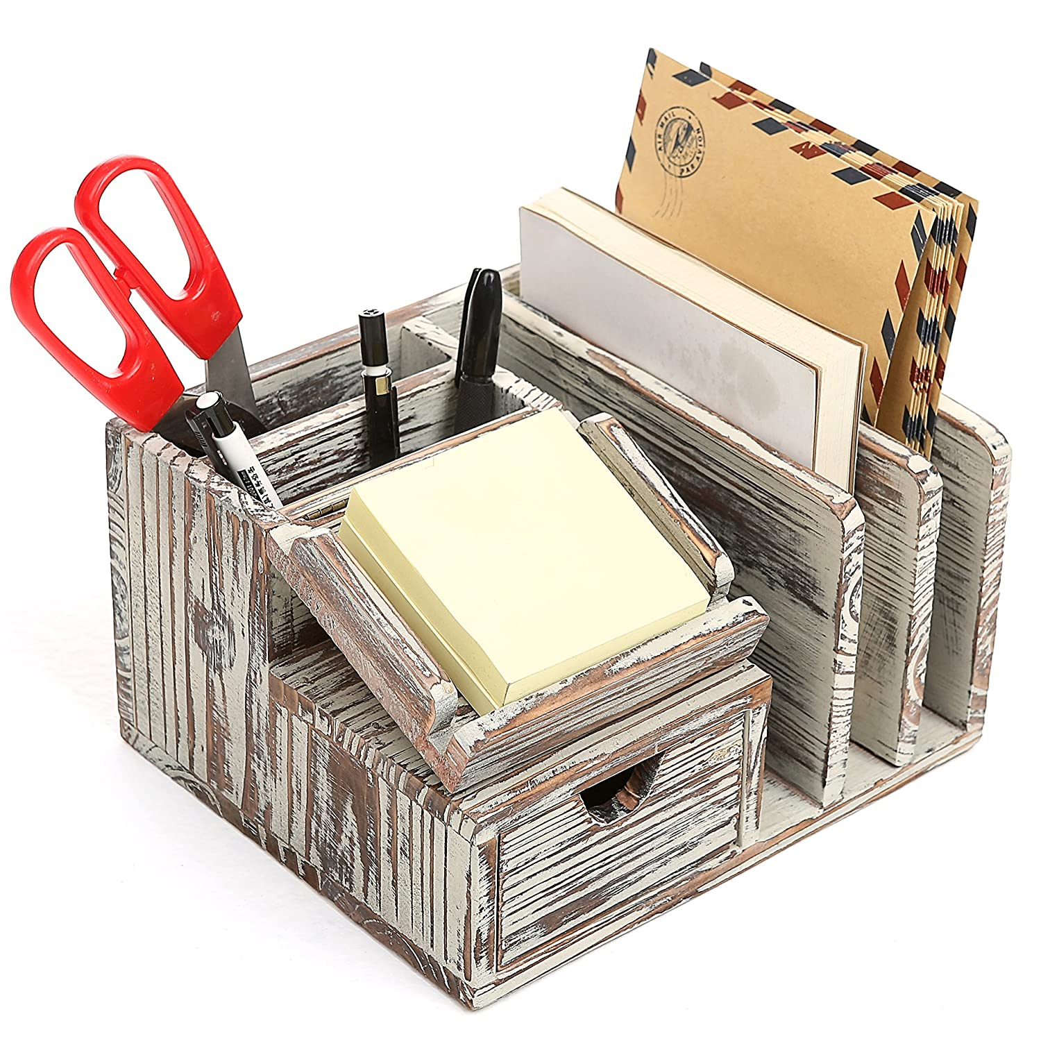MyGift Torched Wood Desktop Office Organizer w/Sticky Note Pad Holder, Mail Sorter & Pullout Drawer
