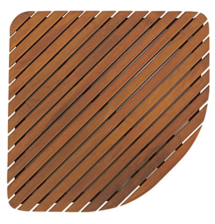 Bare Decor Dania Corner Shower Spa Mat, 24 By 24 Inch, Solid Teak