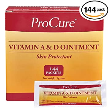 Vitamin A and D Ointment, 144 Packets - Diaper Rash Cream, Adult Skin  Protectant- Lanolin and