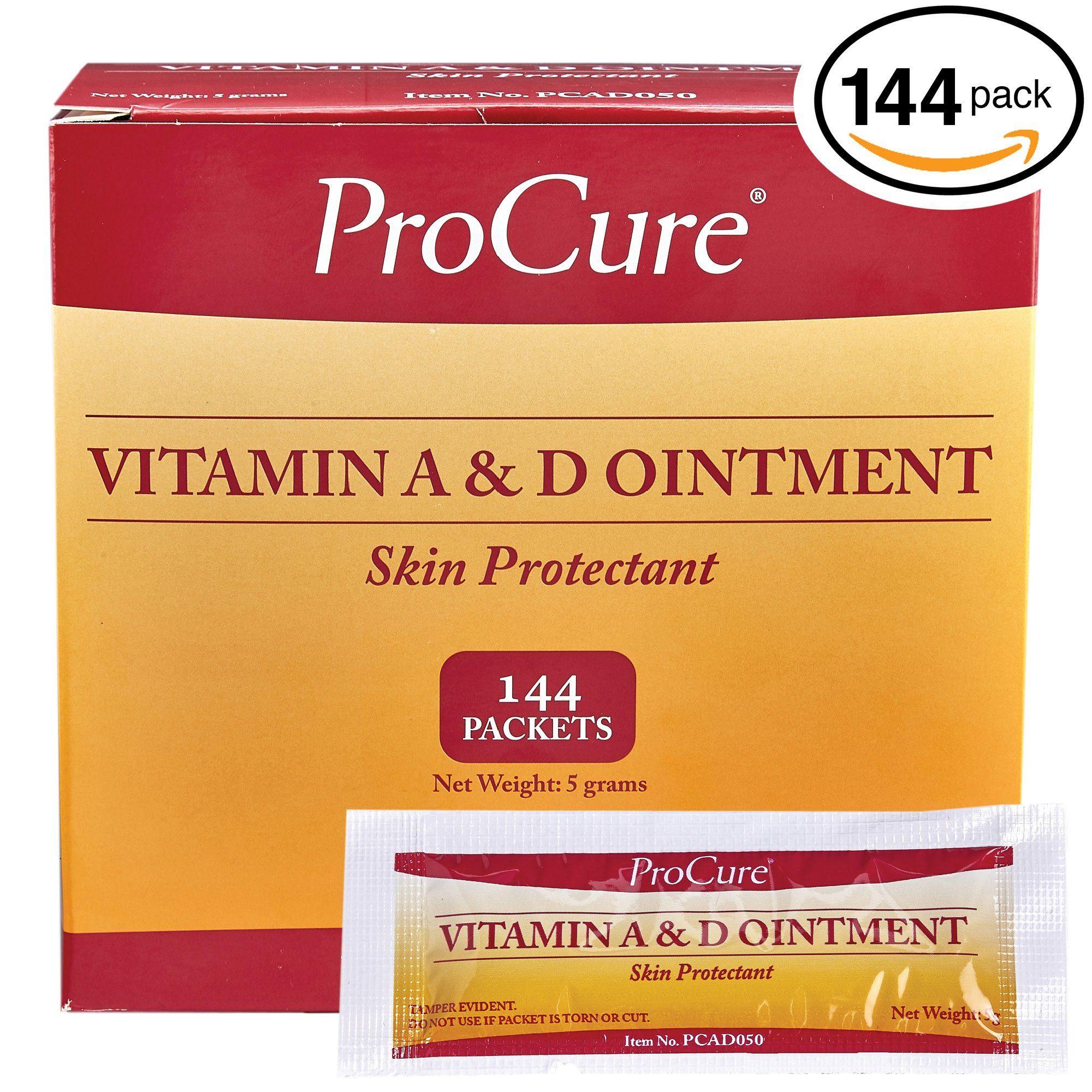 ProCure Vitamin A and D Ointment 5g Packets, 144 Count - Treats and Prevents Diaper Rash - Lanolin and Petrolatum Skin Protectant Formula Seals in Wetness - for Cuts, Dry Or Chaffed Skin