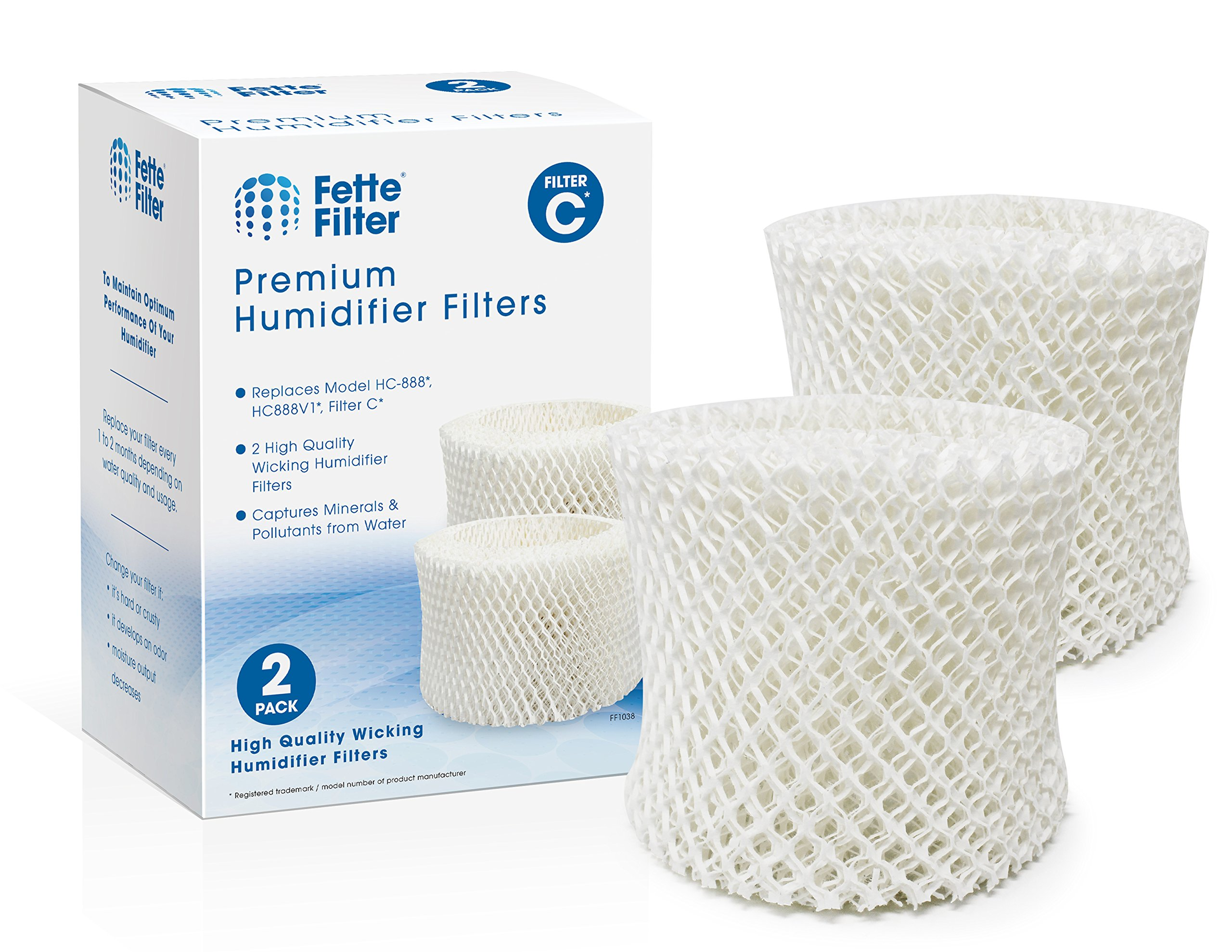 Fette Filter 2-Pack Humidifier Wicking Filters. Compatible with HC-888, HC-888N, Filter C. Pack of 2.