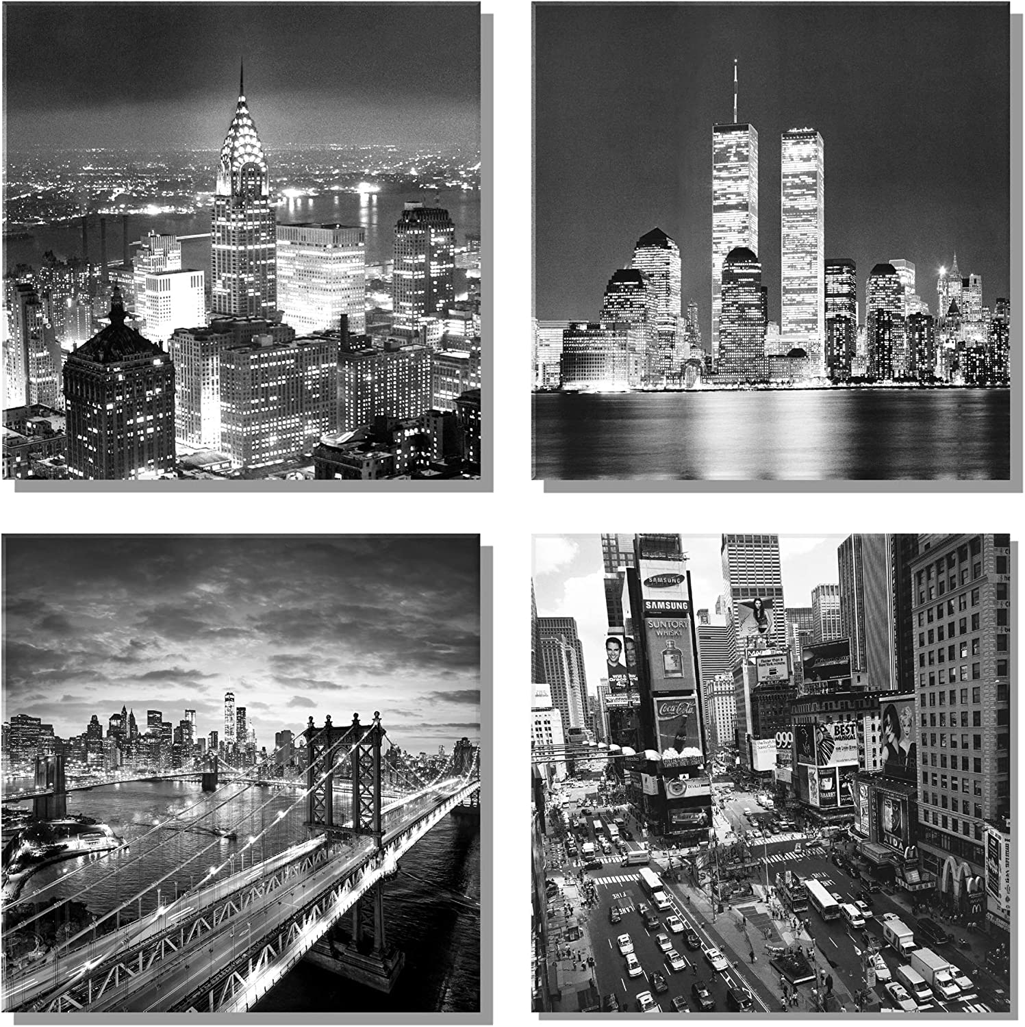 New York City Canvas Wall Art Brooklyn Bridge Empire State Building Artwork for Walls Pictures of Space Wall Decorations for Living Room Office Bedroom Home Decor