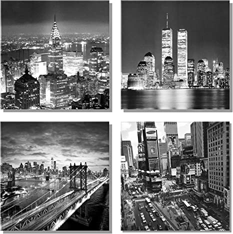 New York City Canvas Wall Art Brooklyn Bridge Empire State Building Artwork For Walls Pictures Of Space Wall Decorations For Living Room Office Bedroom Home Decor Posters Prints