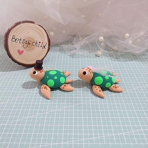 Amazon.com: bride and groom Turtle wedding cake topper, handmade ...