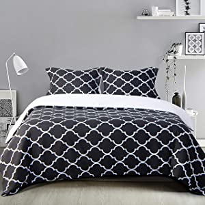 NTBAY Microfiber King Duvet Cover Set, 3 Pieces Ultra Soft Geometric Printed Comforter Cover Set with Zipper Closure and Corner Ties, Black and White