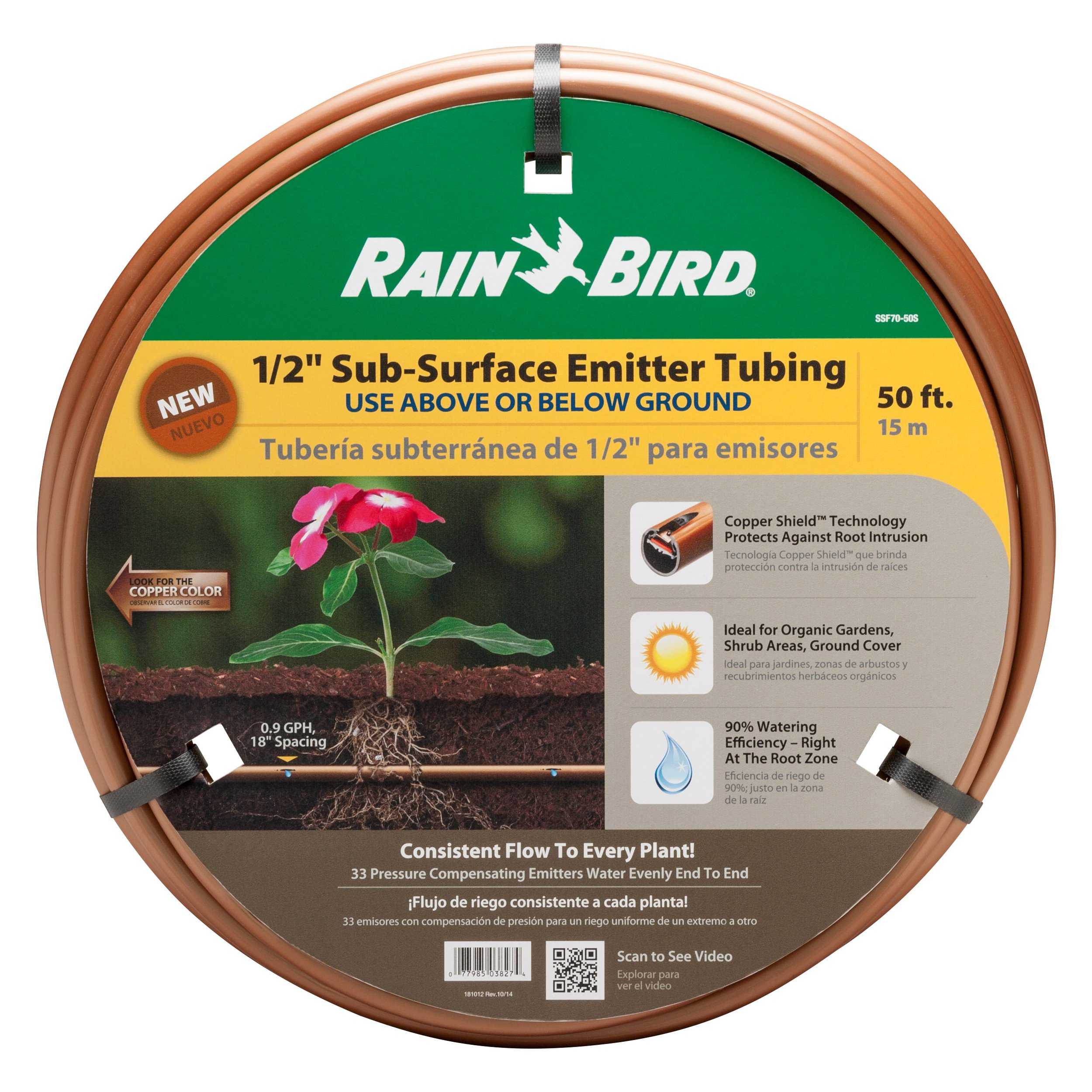 Rain Bird SSF70-50S Drip Irrigation Pressure Compensating 1/2'' (.700 OD) Sub-Surface Emitter Tubing with Copper Shield Technology, 18'' Emitter Spacing, 50' Roll, Copper by Rain Bird