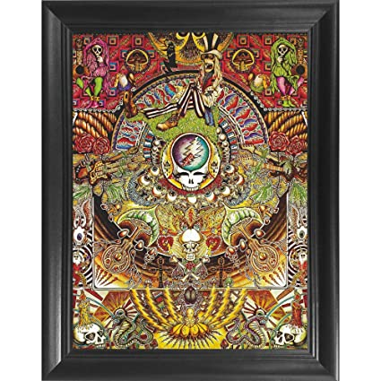 Grateful Dead Collage 3D Poster Wall Art Decor Framed Print   14 5x18 5    Lenticular Posters & Pictures   Merchandise Gifts for Guys & Girls Bedroom   