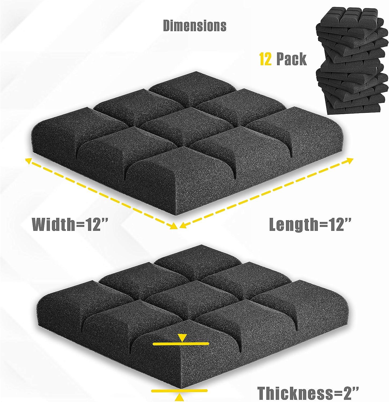 12 Pack Set 2 X 12 X 12 Acoustic Foam Panels Sound Panels wedges Soundproof Sound Insulation Absorbing Bread 3 Block Tiles 3 Blocks Design