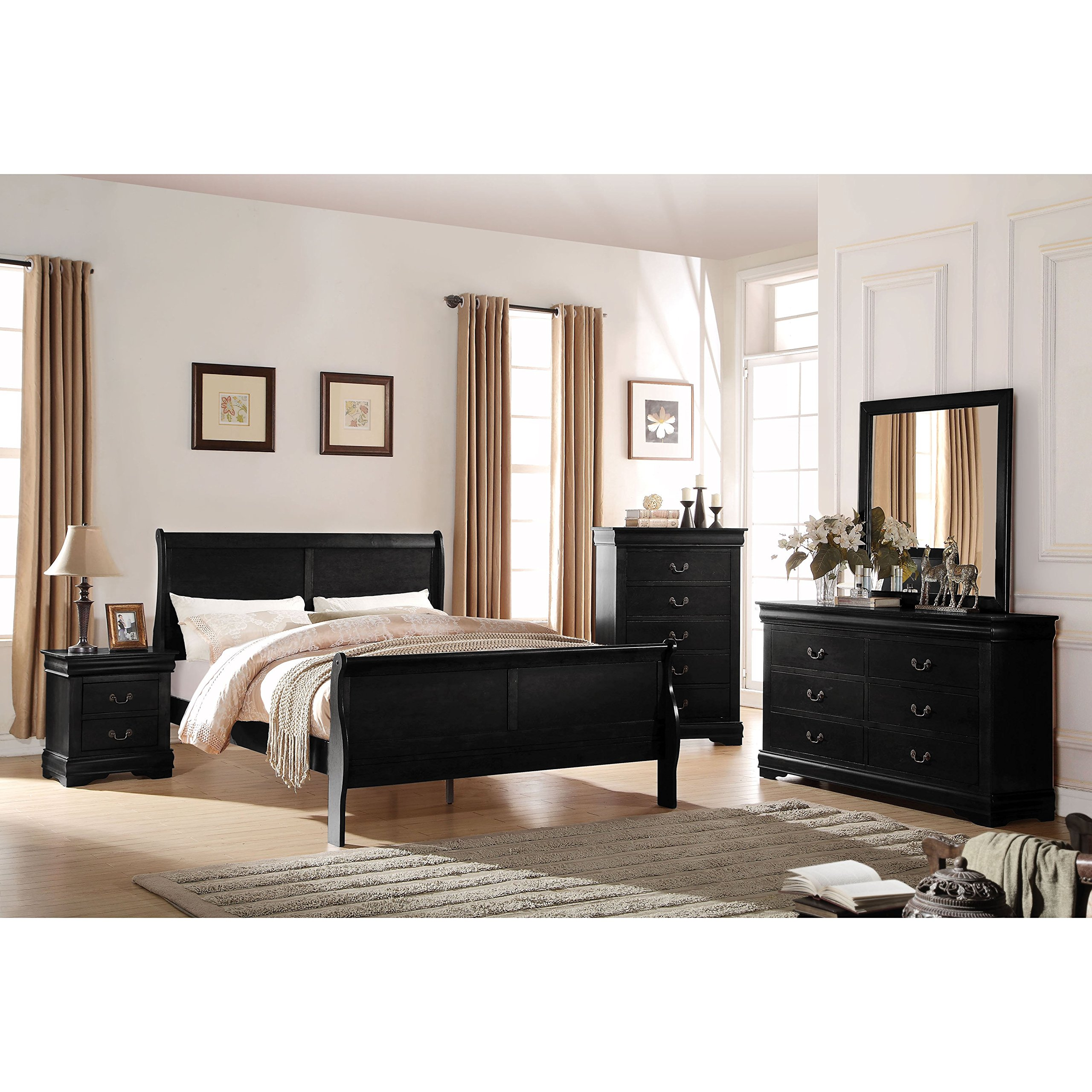Acme Furniture Louis Philippe Black 4-Piece Sleigh Bedroom Set Twin