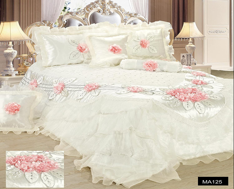 Tache Home Fashion MA125-Q Tache 6 Piece Floral Delicate Rose Pink White Luxurious Comforter Set, Queen