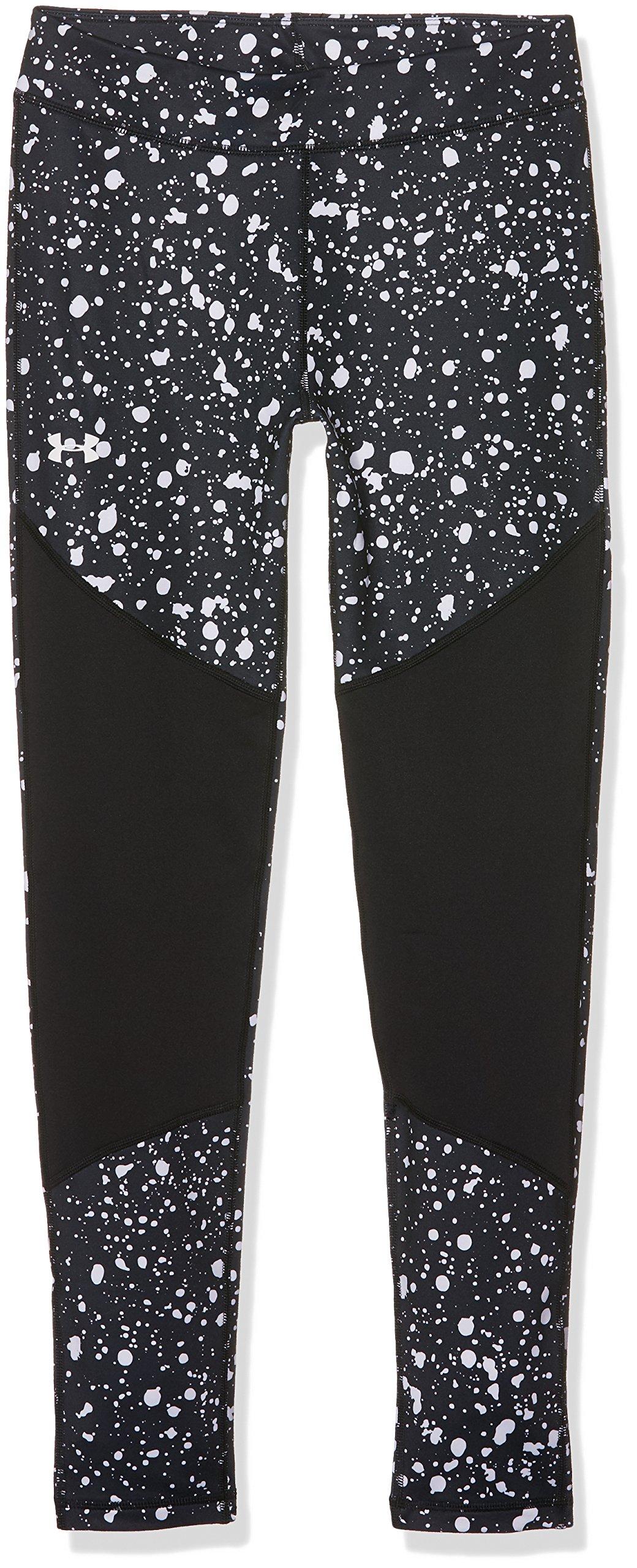 Under Armour Girls' ColdGear Novelty Leggings,Black (001)/White, Youth X-Large