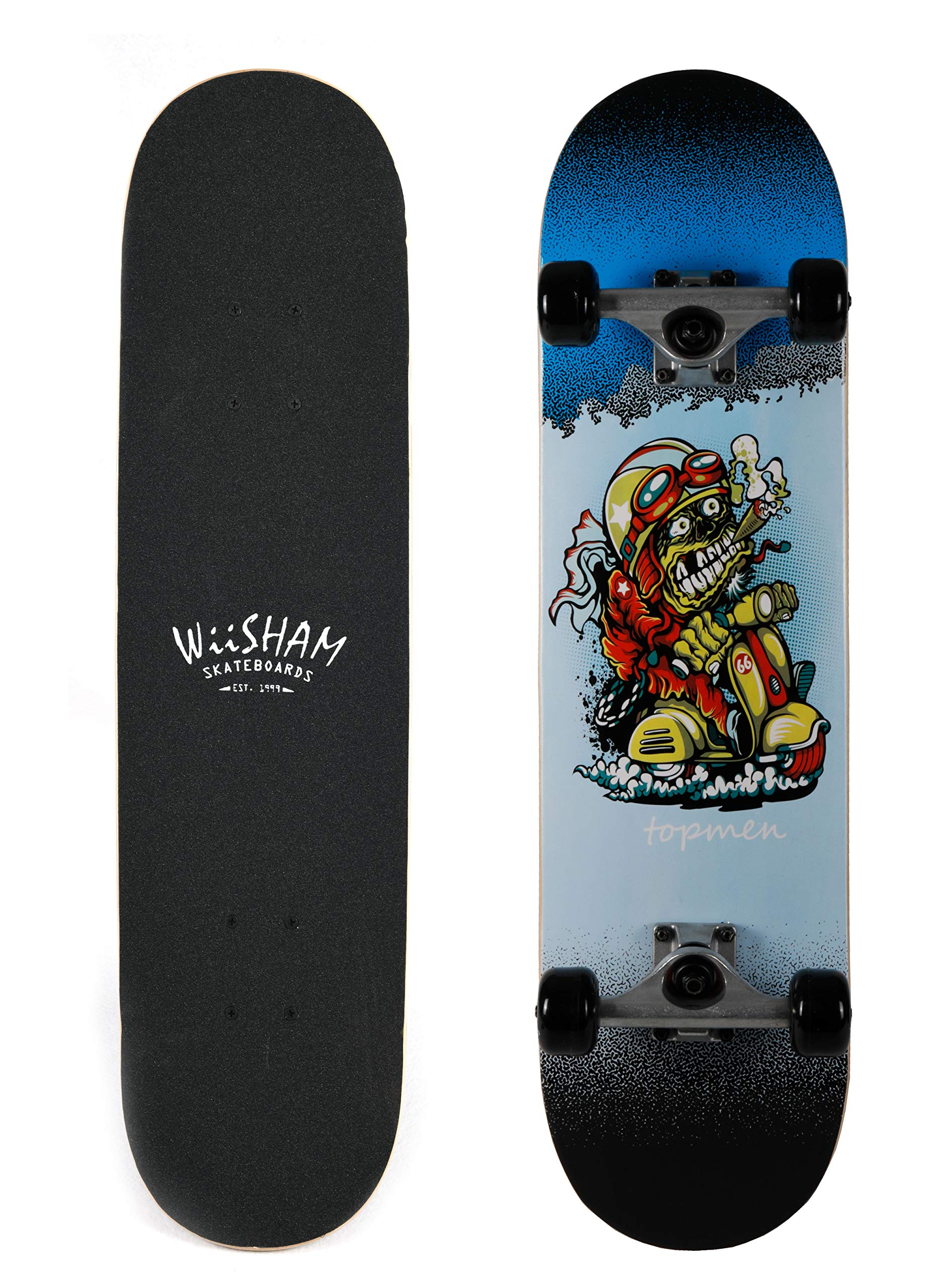 WiiSHAM Skateboards Pro 31 inches Complete Skateboards for Teens, Beginners, Girls,Boys,Kids,Adults (27)