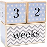 LovelySprouts Solid Wood Milestone Age Blocks Choose From 3 Different Color Styles (Blue) Baby Age Photo Blocks Perfect Baby Shower Gift And Keepsake By