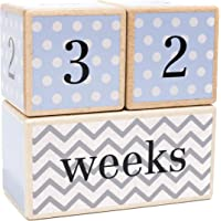 LovelySprouts Milestone Age Blocks Solid Wood Baby Age Photo Blocks Perfect Baby Shower Gift, Blue