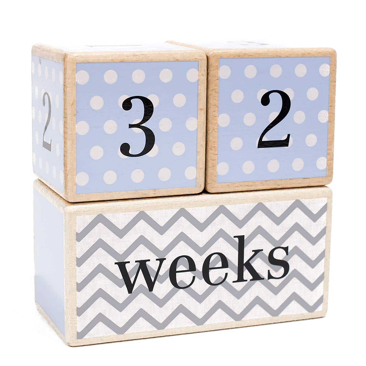 Premium Solid Wood Milestone Age Blocks | Choose from 3 Different Color Styles (Blue) | Baby Age Photo Blocks | Perfect Baby Shower Gift and Keepsake by LovelySprouts