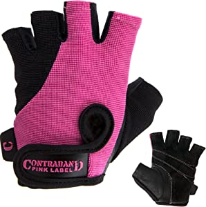 Contraband Pink Label 5057 Womens Basic Lifting Gloves (Pair) - Light-Medium Padded Durable Leather Palm Fingerless Classic Workout Gloves Designed & Sized for Women
