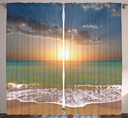 Ambesonne Sea Decor Curtains for Living Room by, 108 X 84 Inches, Sunset  Ocean Nautical Theme Pictures, Home Bedroom Dining Room Curtain 2 Panels  Set, ...