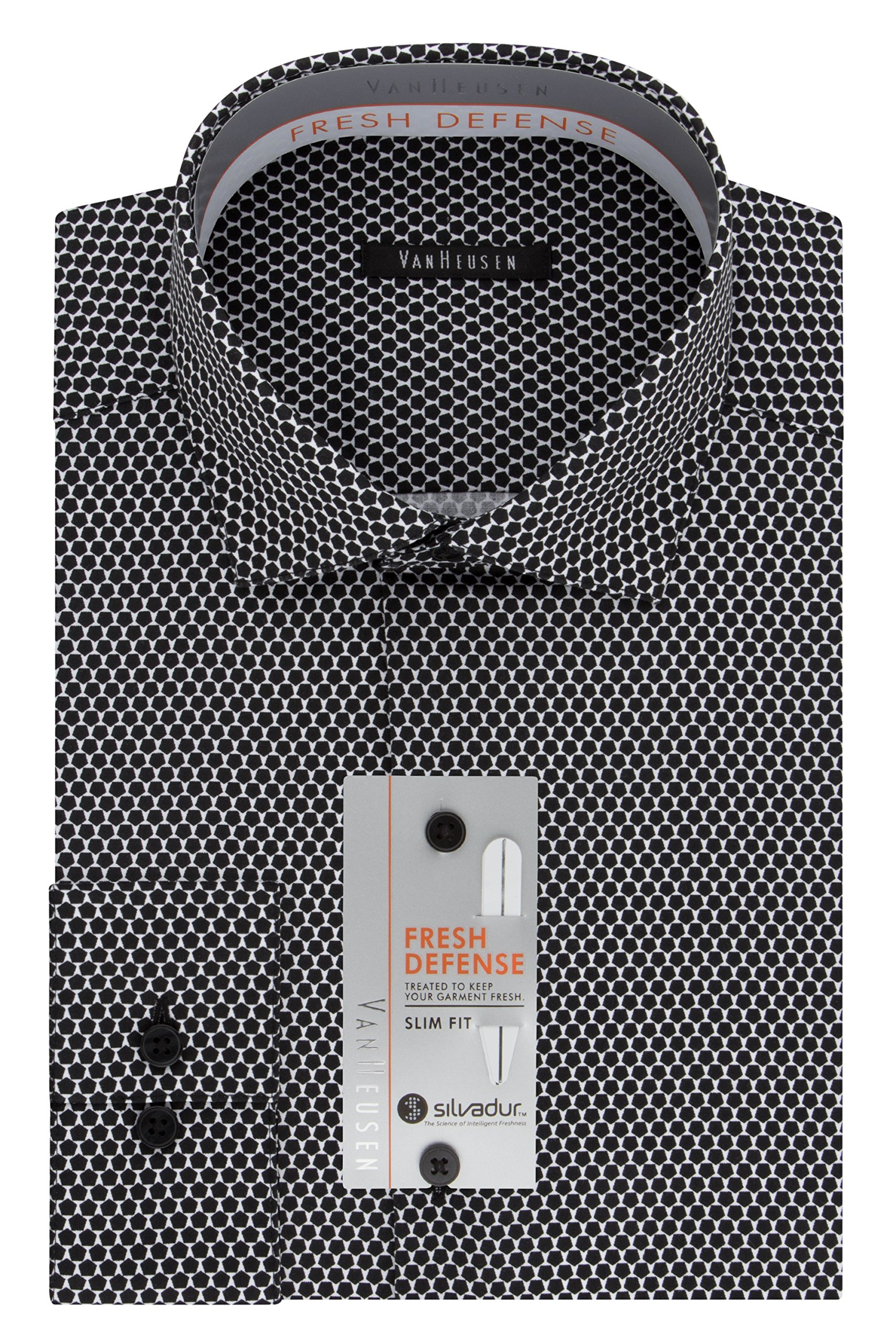 Van Heusen Men's Big and Tall Chrome Slim Fit Print Spread Collar Dress Shirt, Black Pepper, 18.5'' Neck 34''-35'' Sleeve