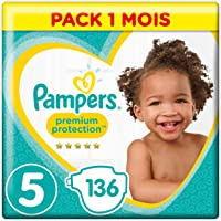 Pampers - Premium Protection - Couches Taille 5 (11 - 16 kg)  - Pack 1 mois (x136 couches)
