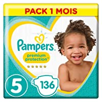 Pampers - Premium Protection - Couches Taille 5 (11 - 23 kg)/(11 - 16 kg)  - Pack 1 mois (x136 couches)