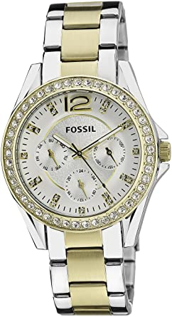 Fossil Riley Chronograph Silver Dial Women's Watch - ES3204I Women at amazon