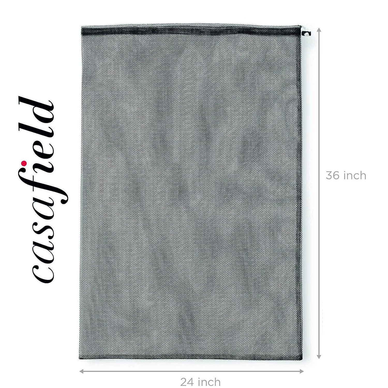 Heavy-Duty Washable Net Casafield 24 x 36 Large Mesh Drawstring Laundry or Equipment Bag Yellow