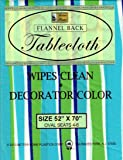 "Better Home Vinyl Tablecloth Blue Green Strips Decorator Design Flannel Backed (52""x70"" OVAL)"
