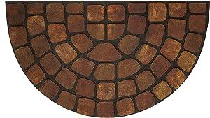 "Achim Home Furnishings RRM1830BS6 Beige Stone Slice Raised Rubber Door Mat, 18 by 30"", Black"