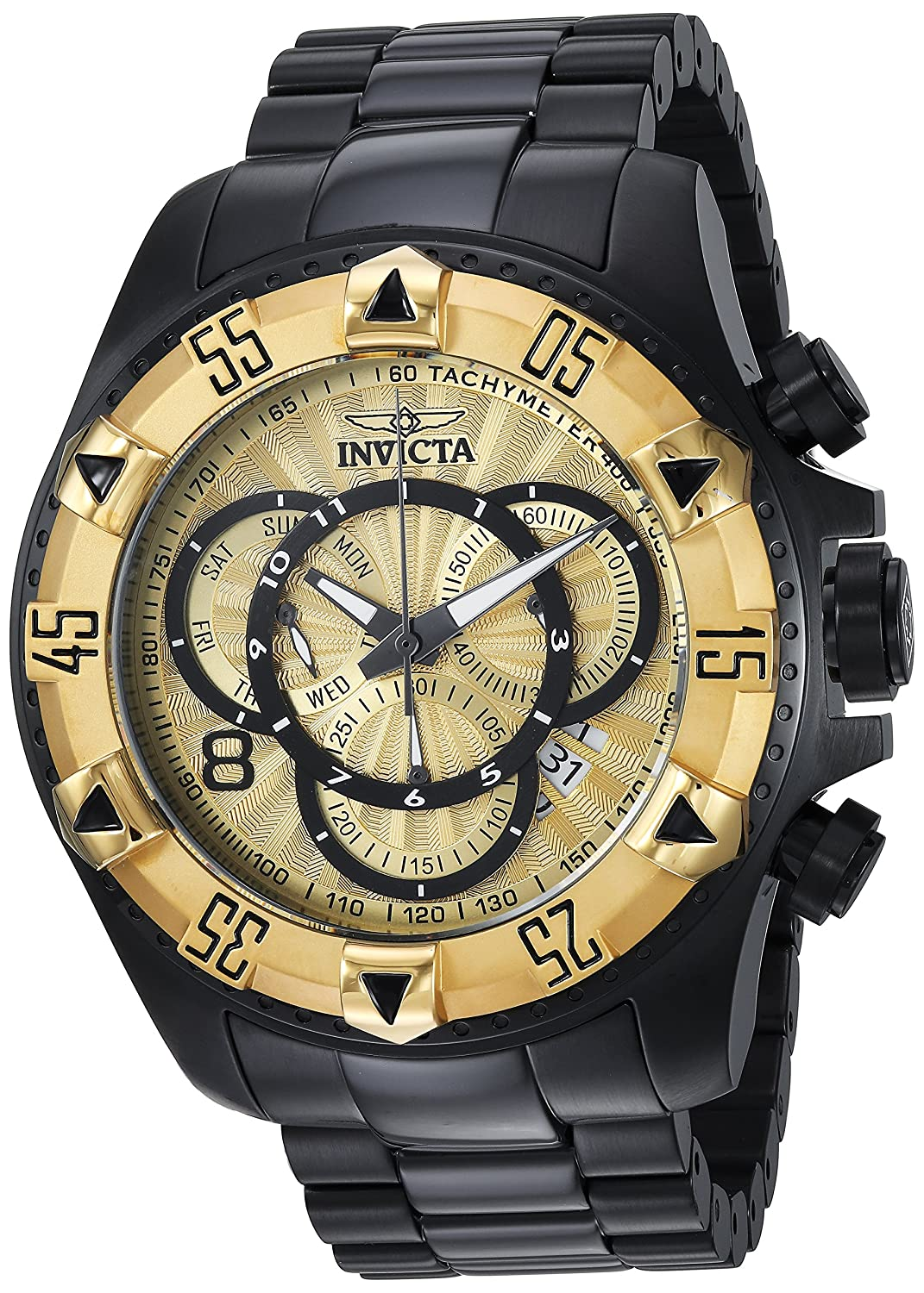 Invicta Men s Excursion Quartz Watch with Stainless-Steel Strap, Black, 26 Model 24267