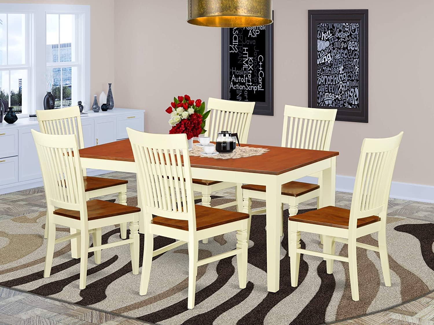 7 Pc Dinette set with a Dining Table and 6 Wood Seat Dining Chairs in Buttermilk and Cherry
