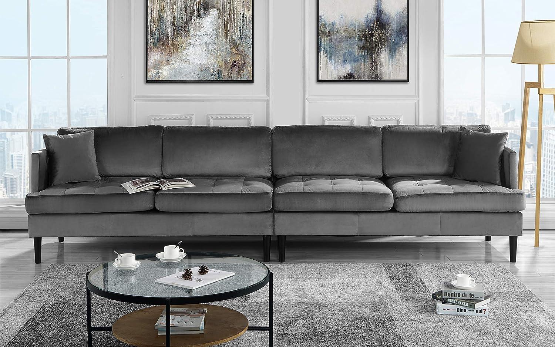 amazon com mid century modern extra large velvet sofa living room rh amazon com extra large sofa slipcovers extra large sofa slipcovers