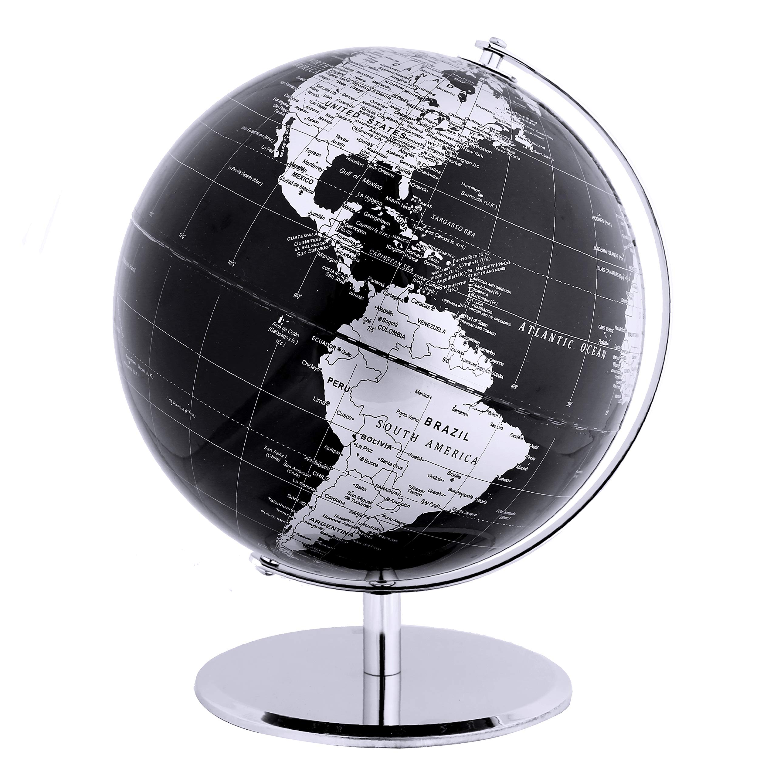 Exerz Metallic World Globe (Dia 10-Inch / 25 cm) Black - Educational/Geographic/Modern Desktop Decoration - Stainless Steel Arc and Base/Earth World - Metallic Black - for School, Home, and Office