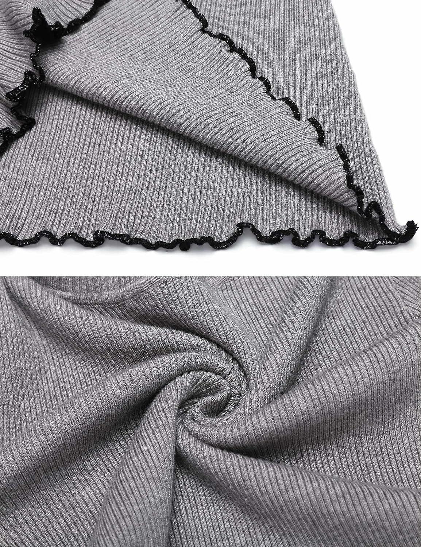 SoTeer Women Turtleneck Flare Long Sleeve Slim Fit Ruffles Hem Thin Knit Sweater