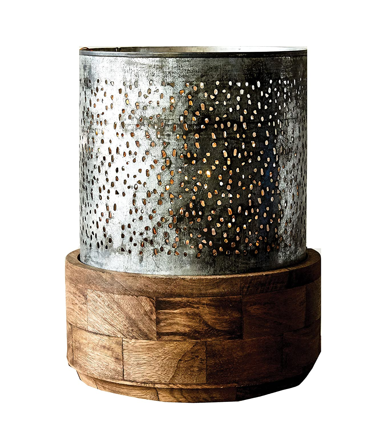 Creative Co-op DA6616 Punched Metal Hurricane with Mango Wood Base