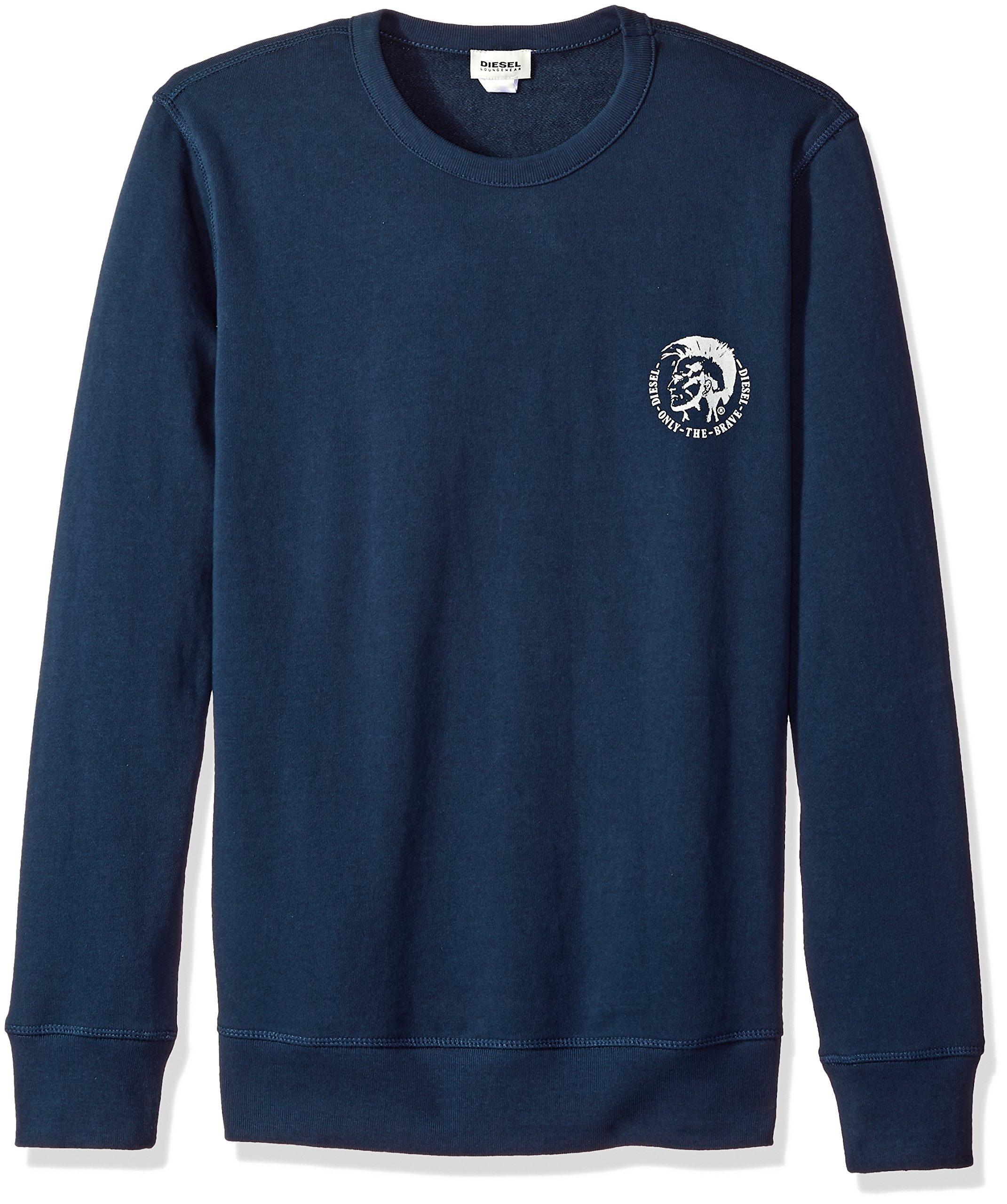 Diesel Men's Willy Mohican Lounge Crew Sweat Shirt, Navy, XXL